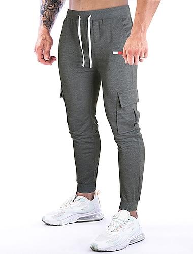 Męskie Codzienny Sport Oddychający Spodnie Codzienny Spodnie Kolorowy blok Pełna długość Haft Czarny Ciemnoszary