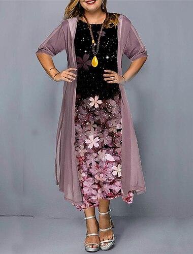 Női Molett Ruha A vonalú ruha Midi ruha Háromnegyedes Virágos Nyomtatott Alkalmi Ősz Nyár Arcpír rózsaszín Lóhere L XL XXL 3 XL 4 XL / Extra méret / Extra méret
