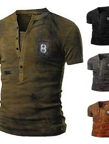 Homens Camisetas Camiseta Camisa Social Renderizacao Manga Curta Casual Blusas Leve Moda Classico Decote V Cinzento Caqui Verde / Verao