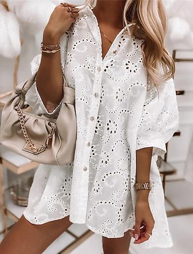 Γυναικεία Φόρεμα πουκαμίσα Φόρεμα μέχρι το γόνατο Λευκό Μισό μανίκι Συμπαγές Χρώμα Κοφτό Κουμπί Άνοιξη Καλοκαίρι Κολάρο Πουκαμίσου Καθημερινό Μοντέρνα Αργίες 2021 Τ M L XL