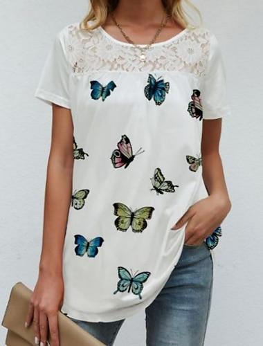 여성용 추상화 T 셔츠 드레스 그래픽 버터플라이 꽃장식 레이스 프린트 라운드 넥 섹시 보호 탑스 푸른 레인보우