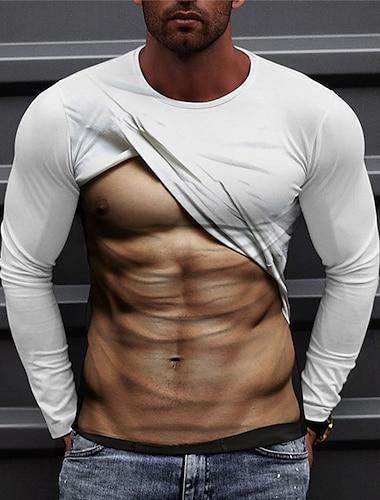 Herre Unisex T-Shirts T-shirt Skjorte 3D-udskrivning Grafiske tryk Figur Trykt mønster Langærmet Daglig Toppe Afslappet Designer Stor og høj Hvid