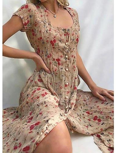여성용 시프트 드레스 미디 드레스 퍼플 옐로우 블러슁 핑크 베이지 밝은 블루 짧은 소매 플로럴 버튼 프론트 프린트 여름 스퀘어 넥 뜨거운 빈티지 보호 홀리데이 2021 S M L XL XXL 3XL