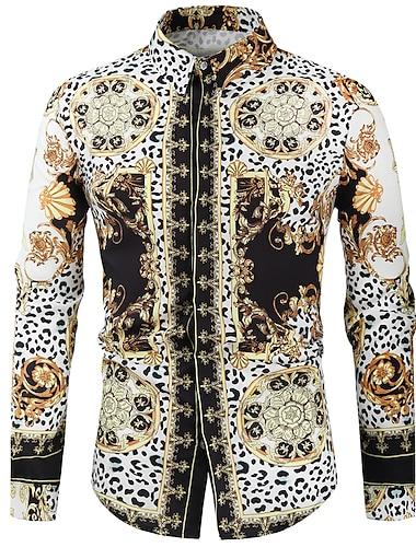 Men\'s Shirt Graphic Long Sleeve Casual Tops Fashion Classic Black / White