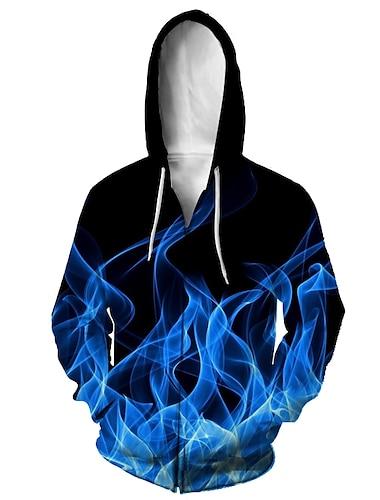 Муж. Толстовка с капюшоном на молнии Животное 3D Капюшон Повседневные 3D печать На каждый день Толстовки Толстовки Длинный рукав Свободный силуэт Синий