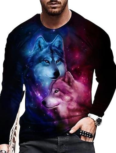Homens Unisexo Camisetas Camiseta Camisa Social Impressao 3D Estampas Abstratas Lobo Estampado Manga Longa Diario Blusas Casual Designer Grande e Alto Preto