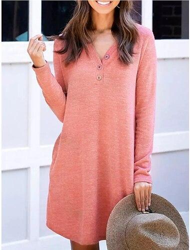 Női A vonalú ruha Térdig érő ruha Arcpír rózsaszín Hosszú ujj Tömör szín Zseb Kollázs Ősz Tél V-alakú Alkalmi 2021 S M L XL XXL 3XL