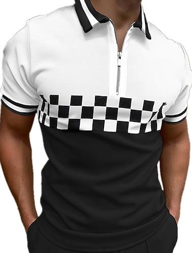 男性用 ゴルフシャツ チェック カラーブロック ジッパー プリント 半袖 ストリート トップの コットン スポーツウェア カジュアル ファッション 快適 ホワイト / 夏