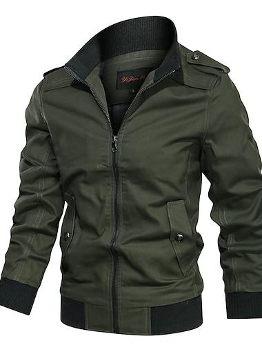 בגדי ריקוד גברים ג\'קט יומי סתיו חורף רגיל מעיל עומד רגיל עמיד יום יומי Jackets שרוול ארוך צבע אחיד טלאים פול ירוק צבא חאקי / כותנה