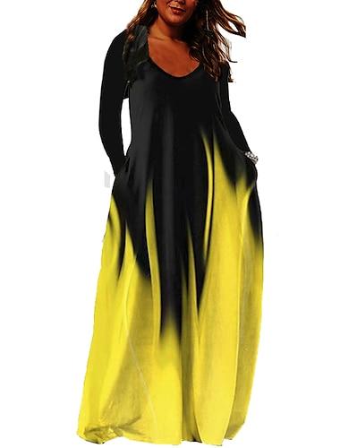 Női Molett Ruha A vonalú ruha Maxi hosszú ruha Hosszú ujj Színátmenet Zseb Csónaknyak Alkalmi Ősz Nyár Világossárga Medence Zöld L XL XXL 3 XL 4 XL / Extra méret / Extra méret