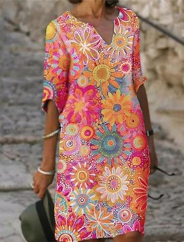 Női A vonalú ruha Térdig érő ruha Medence Bíbor Sárga Lóhere Fehér Rubin Világoszöld Sötétkék Féhosszú Virágos Absztrakt Nyomtatott Ősz Nyár V-alakú Alkalmi 2021 S M L XL XXL