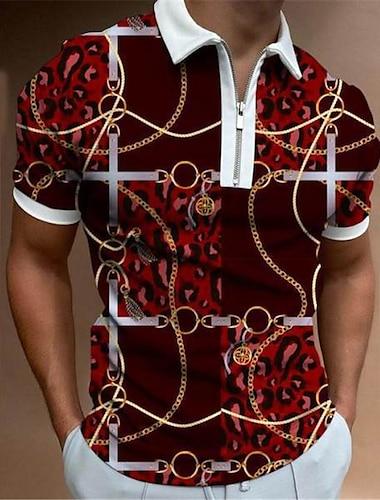 Men\'s Golf Shirt Chains Print Zipper Print Short Sleeve Street Regular Fit Tops Sportswear Casual Fashion Comfortable Red / Summer