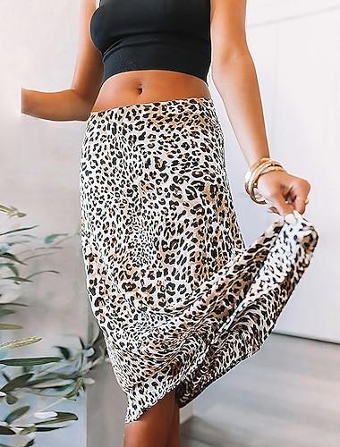 Dámské Denní Základní Sukně Leopard Tisk Světle hnědá