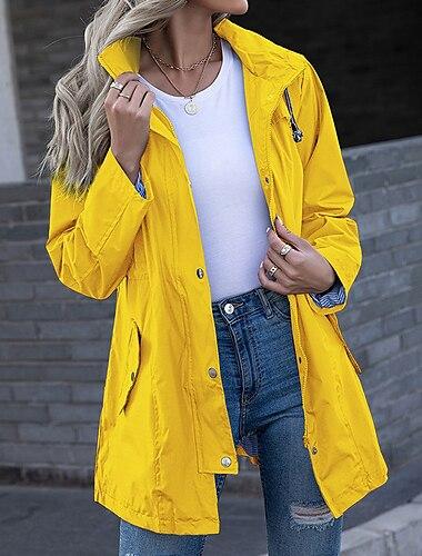 Γυναικεία Σακάκι Causal Καθημερινά Φθινόπωρο Κανονικό Παλτό Κανονικό Αντιανεμικό Διατηρείτε Ζεστό Βασικό Καθημερινό Σακάκια Μακρυμάνικο Συμπαγές Χρώμα Κορδόνι Θαλασσί Βυσσινί Κίτρινο