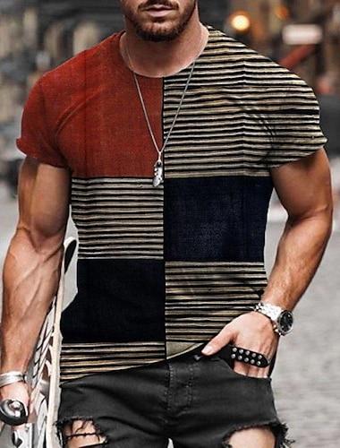 Tee T-shirt Chemise Homme Treillis Bloc de Couleur Manches Courtes Decontracte Quotidien Vacances Standard Polyester basique Designer Coupe Cintree Col Ras du Cou / Ete
