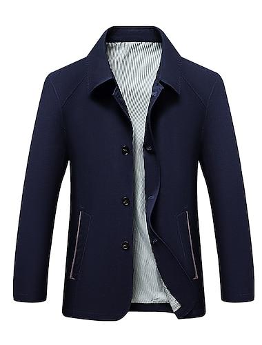 Bărbați Jachetă Afaceri Zilnic Toamnă Primăvară Regulat Palton Fit regulat Termic cald Ușor Respirabil Elegant Jachete Manșon Lung Culoare solidă Plisată Albastru piscină Gri