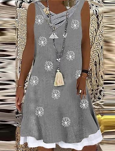Γυναικεία Φόρεμα σε γραμμή Α Φόρεμα μέχρι το γόνατο Γκρίζο Αμάνικο Φλοράλ Στάμπα Καλοκαίρι Λαιμόκοψη V Καθημερινό 2021 Τ M L XL XXL
