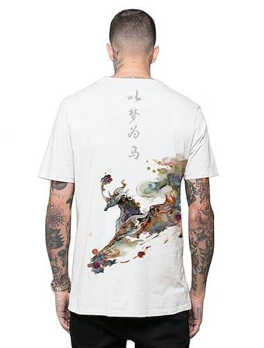 Per uomo Magliette maglietta Stampa 3D Stampe astratte Cavallo Pittura a inchiostro Stampa 3D Manica corta Casuale Top Stile etnico Casuale Di tendenza Originale Rotonda Bianco Nero / Estate