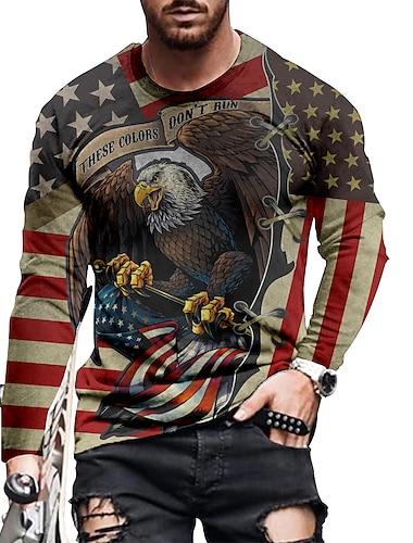 Men\'s Tee T shirt Shirt 3D Print Graphic Eagle Flag Plus Size Print Long Sleeve Casual Tops Basic Designer Slim Fit Big and Tall Blue Purple Gray
