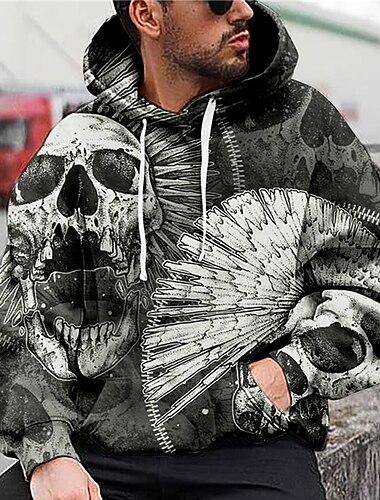 Bărbați Unisex Hanorac cu glugă Imprimeu Grafic Cranii Imprimeu Capișon Zilnic Sport Tipărire 3D Imprimeu 3D Casual Hanorace hanorace Manșon Lung Gri