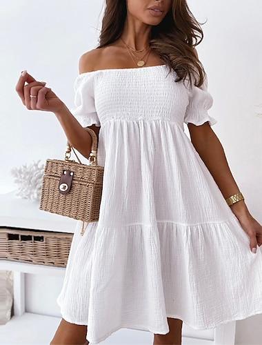 Γυναικεία Φόρεμα σε γραμμή Α Μίνι φόρεμα Λευκό Μαύρο Μπεζ Κοντομάνικο Συμπαγές Χρώμα Εξώπλατο Σουρωτά Καλοκαίρι Ώμοι Έξω Καθημερινό 2021 Τ M L XL