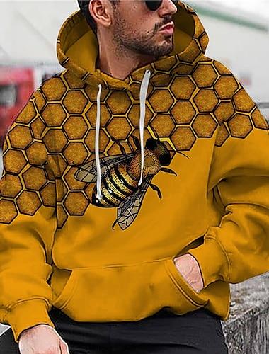 Miesten Sukupuolineutraali Pullover-huppari Graafiset tulosteet Ampiainen Painettu Hupullinen Päivittäin Urheilu 3D-tulostus 3D-kuvio Vapaa-aika Hupparit paidat Pitkähihainen Keltainen