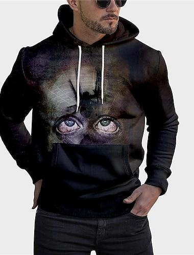 Homme Unisexe Sweat-shirt a capuche Imprimes Photos OEil SPIDER Imprimer Capuche du quotidien Des sports 3D effet Motifs 3D Decontractee Pulls Capuche Pulls molletonnes Manches Longues Noir