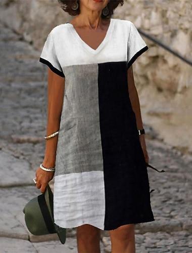 Γυναικεία Φόρεμα σε γραμμή Α Φόρεμα μέχρι το γόνατο Γκρίζο Κοντομάνικο Γεωμετρικό Στάμπα Καλοκαίρι Λαιμόκοψη V Καθημερινό Αργίες 2021 Τ M L XL XXL 3XL