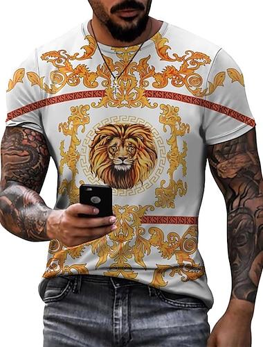 Pánské Trička Tričko Košile 3D tisk Grafika Lev Větší velikosti Krátký rukáv Ležérní Topy Základní Designové Úzký střih Velký a vysoký Trávová zelená Bílá Černá