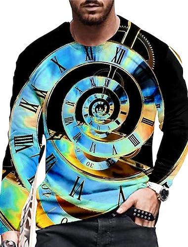 Herr Unisex T-shirts T-shirt Skjorta 3D-tryck Grafiska tryck Klocka Tryck Långärmad Dagligen Blast Ledigt Designer Stor och hög Blå