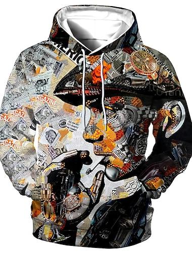 男性用 男女兼用 プルオーバーフーディースウェットシャツ グラフィック 人間 プリント フード付き 日常 スポーツ 3Dプリント 3Dプリント カジュアル パーカー トレーナー 長袖 グレー