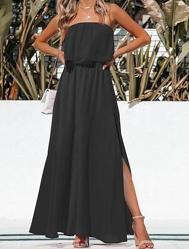 Γυναικεία Φόρεμα ριχτό από τη μέση και κάτω Μακρύ φόρεμα Πράσινο παραλλαγής Πράσινο λουλουδάτο Κίτρινο λουλουδάτο Κόκκινο λουλουδάτο Cranberry Floral Πορτοκαλί Μαύρο Ροδοκόκκινο Αμάνικο Συμπαγές Χρώμα