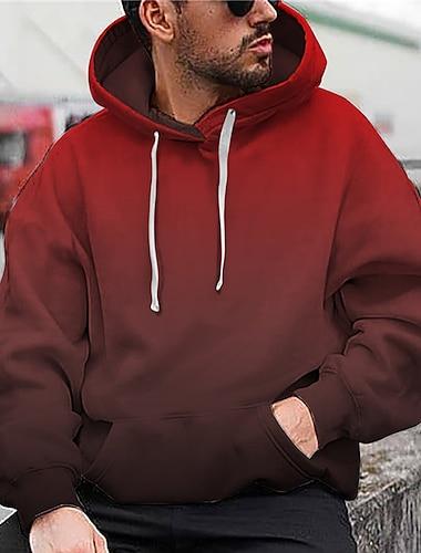 رجالي للجنسين البلوز هوديي البلوز التدرج مطبوعات غرافيك طباعة مع قبعة مناسب للبس اليومي الرياضة طباعة ثلاثية الأبعاد 3D طباعة كاجوال هوديس بلوزات كم طويل أحمر