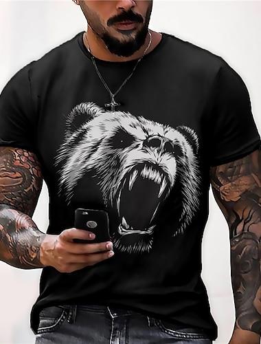 Муж. Универсальные Футболки Футболка Рубашка 3D печать Графические принты Медведи С принтом С короткими рукавами Повседневные Верхушки На каждый день Оригинальный рисунок Большой и высокий Черный