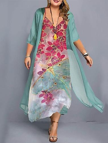 Női Molett Ruha A vonalú ruha Midi ruha Háromnegyedes Virágos Nyomtatott Alkalmi Ősz Nyár Lóhere L XL XXL 3 XL 4 XL / Extra méret / Extra méret