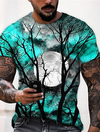 Men\'s Unisex Tee T shirt Shirt 3D Print Graphic Prints Moon Print Short Sleeve Halloween Tops Casual Designer Big and Tall Blue Purple Gray / Summer
