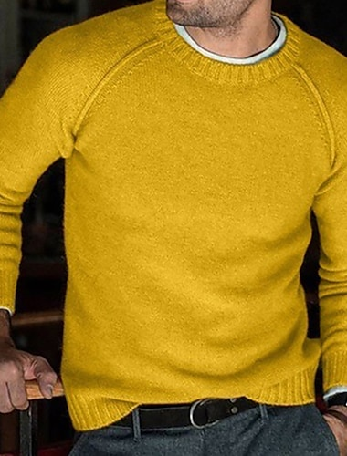 Ανδρικά Γιούνισεξ Πουλόβερ Πλεκτό Συμπαγές Χρώμα Στυλάτο Πεπαλαιωμένο Στυλ Μακρυμάνικο Πουλόβερ ζακέτες Στρογγυλή Ψηλή Λαιμόκοψη Φθινόπωρο Χειμώνας Κίτρινο Ανθισμένο Ροζ Γκρίζο