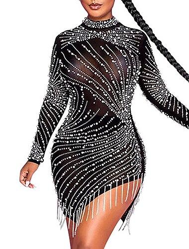 Γυναικεία Φόρεμα σε ευθεία γραμμή Μίνι φόρεμα Μαύρο Μπεζ Μακρυμάνικο Συμπαγές Χρώμα Φούντα Καλοκαίρι Στρογγυλή Λαιμόκοψη Σέξι 2021 Τ M L XL XXL