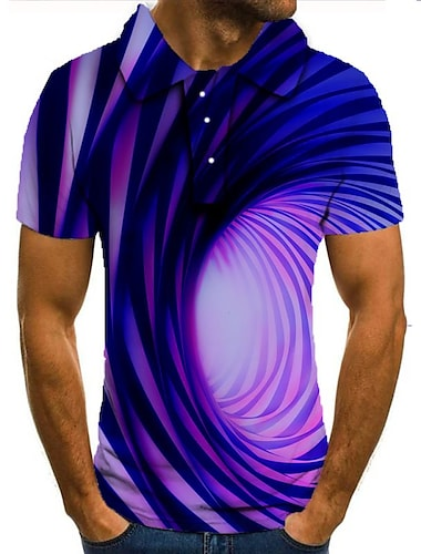 男性用 ゴルフシャツ テニスシャツ 3Dプリント 3D印刷 ジオメトリ ボタンダウン 半袖 ストリート トップの カジュアル ファッション クール パープル / スポーツ