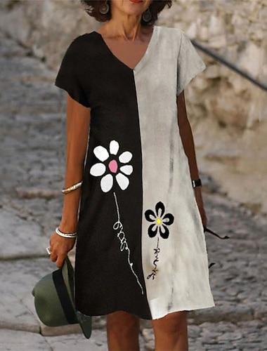 Női A vonalú ruha Térdig érő ruha Fekete Rövid ujjú Virágos Szöveg Nyomtatott Nyár V-alakú Alkalmi Szabadság 2021 S M L XL XXL 3XL
