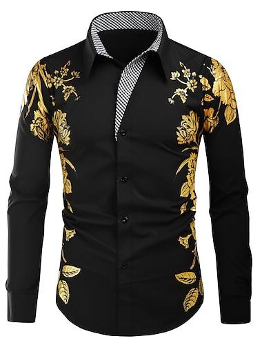 Муж. Рубашка Графика Длинный рукав Повседневные Верхушки Мода Винтаж Белый Черный Красный