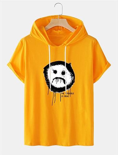 Per uomo Unisex Magliette maglietta Camicia Stampa a caldo Stampe astratte Emoji Face Taglie forti Manica corta Casuale Top Cotone Essenziale Originale Grande e alto Giallo Bianco Nero