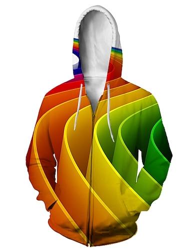Муж. Толстовка с капюшоном на молнии Животное 3D Капюшон Повседневные 3D печать На каждый день Толстовки Толстовки Длинный рукав Свободный силуэт Цвет радуги