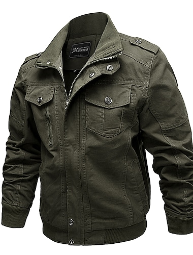 בגדי ריקוד גברים ג\'קט יומי סתיו רגיל מעיל עומד רגיל עמיד ספורטיבי Jackets שרוול ארוך צבע אחיד טלאים ירוק צבא חאקי שחור / כותנה