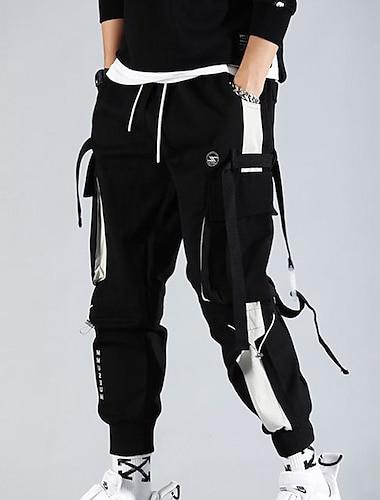 pánské nákladní kalhoty streetwear kalhoty s více kapsami hiphop punk běžec sportovní harémové kalhoty jaro podzim