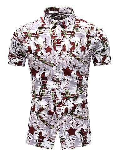Herr Skjorta Andra tryck Grafisk Plusstorlekar Tryck Kortärmad Tillfällig Blast Hawaiisk Strandstil Blå Brun