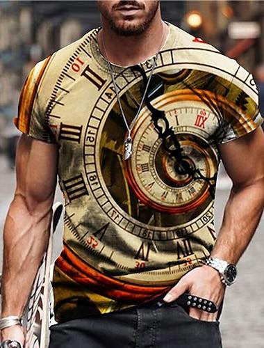 Men\'s Unisex Tee T shirt Shirt 3D Print Graphic Prints Clock Print Short Sleeve Daily Tops Casual Designer Big and Tall Yellow Gray