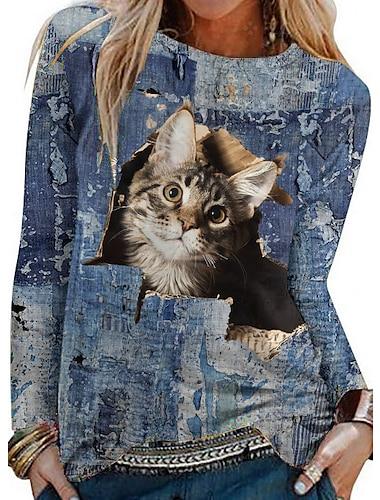 Dámské 3D kočka Obraz Tričko Kočka 3D Zvíře Dlouhý rukáv Tisk Kulatý Základní Topy Vodní modrá
