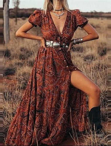 여성용 A 라인 드레스 맥시 드레스 푸른 루비 브라운 짧은 소매 플로럴 스플리트 프린트 가을 여름 V 넥 캐쥬얼 섹시 보호 2021 S M L XL XXL 3XL