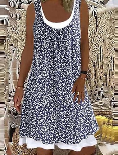 Mujer Vestido de una linea Vestido hasta la Rodilla Azul Piscina Blanco Negro Marron Azul claro Sin Mangas Floral Estampado Verano Escote Redondo Casual 2021 S M L XL XXL 3XL 4XL 5XL